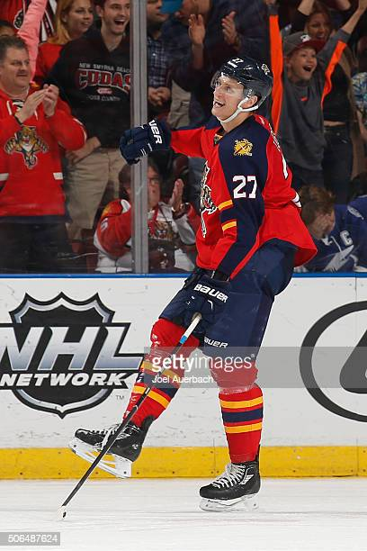 Nick Bjugstad of the Florida Panthers celebrates his second period goal against the Tampa Bay Lightning at the BBT Center on January 23 2016 in...