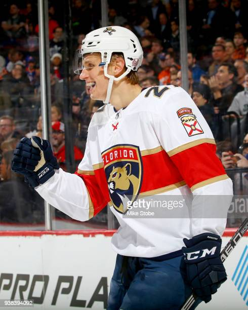Nick Bjugstad of the Florida Panthers celebrates his secondperiod power play goal against the New York Islanders at Barclays Center on March 26 2018...