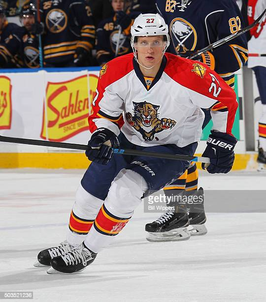 Nick Bjugstad of the Florida Panthers follows the play during his NHL game against the Buffalo Sabres on January 5 2016 at the First Niagara Center...
