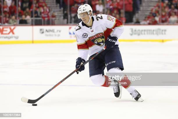 Nick Bjugstad of the Florida Panthers in action against the Washington Capitals during the third period at Capital One Arena on October 19 2018 in...