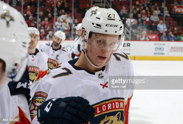 Nick Bjugstad of the Florida Panthers is congratulated by teammates after his second period goal against the Arizona Coyotes at Gila River Arena on...