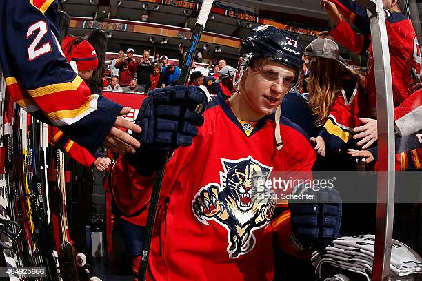 Nick Bjugstad of the Florida Panthers is greeted by fans prior to the start of the game against the Buffalo Sabres at the BBT Center on February 28...