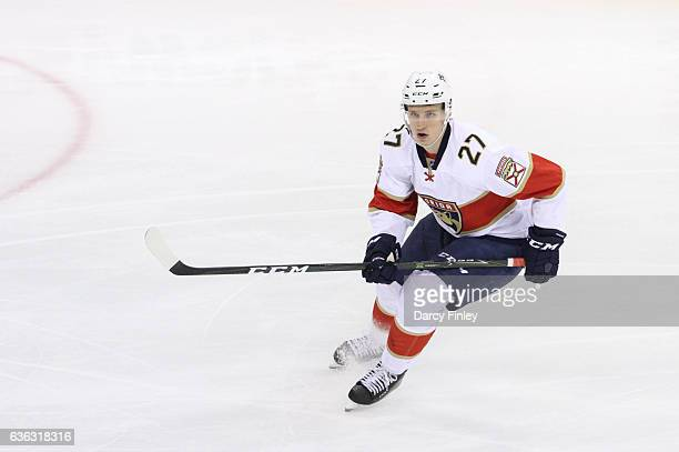Nick Bjugstad of the Florida Panthers keeps an eye on the play during second period action against the Winnipeg Jets at the MTS Centre on December 15...