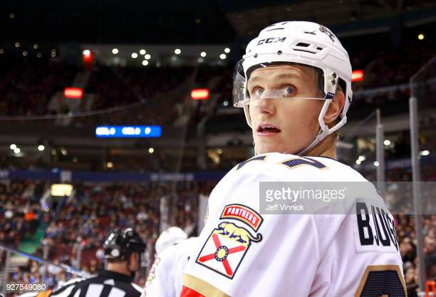 Nick Bjugstad of the Florida Panthers looks on from the bench during their NHL game against the Vancouver Canucks at Rogers Arena February 14 2018 in...