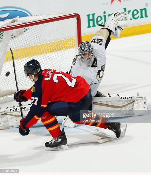 Nick Bjugstad of the Florida Panthers scores a goal against Goaltender MarcAndre Fleury of the Pittsburgh Penguins during the shoot out at the BBT...