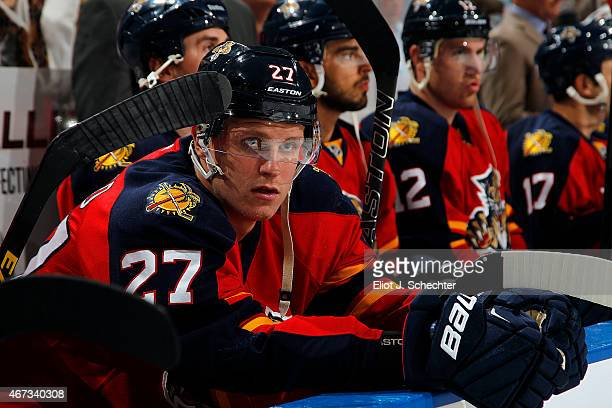 Nick Bjugstad of the Florida Panthers sits on the bench prior to the start of their game against the Boston Bruins at the BBT Center on March 21 2015...
