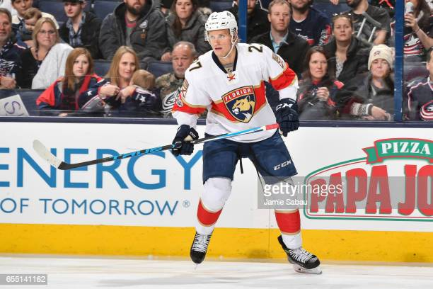 Nick Bjugstad of the Florida Panthers skates against the Columbus Blue Jackets on March 16 2017 at Nationwide Arena in Columbus Ohio
