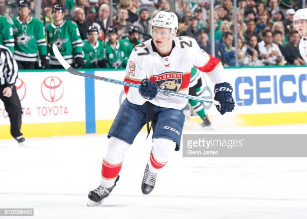 Nick Bjugstad of the Florida Panthers skates against the Dallas Stars at the American Airlines Center on January 23 2018 in Dallas Texas