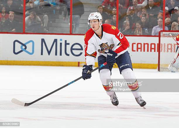 Nick Bjugstad of the Florida Panthers skates against the Ottawa Senators at Canadian Tire Centre on April 7 2016 in Ottawa Ontario Canada