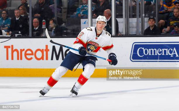 Nick Bjugstad of the Florida Panthers skates against the San Jose Sharks at SAP Center on February 15 2017 in San Jose California