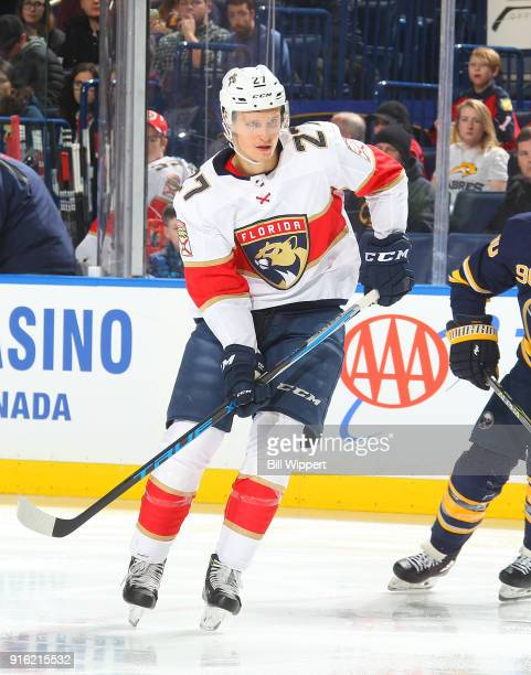 Nick Bjugstad of the Florida Panthers skates during an NHL game against the Buffalo Sabres on February 1 2018 at KeyBank Center in Buffalo New York