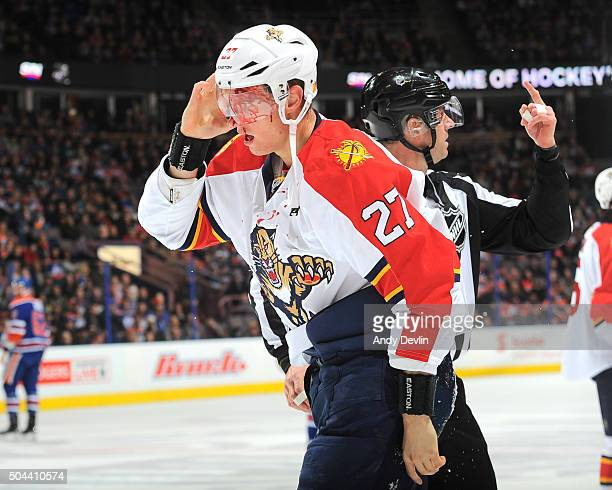 Nick Bjugstad of the Florida Panthers skates off the ice after sustaining an injury during the game against the Edmonton Oilers on January 10 2016 at...