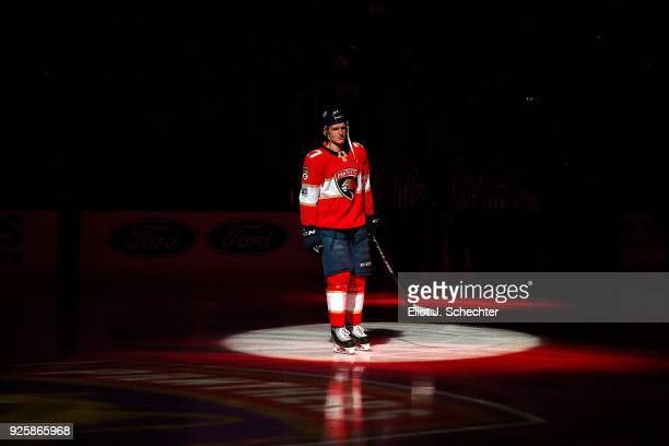 Nick Bjugstad of the Florida Panthers skates on the ice during introductions against the Toronto Maple Leafs at the BB&T Center on February 27, 2018...