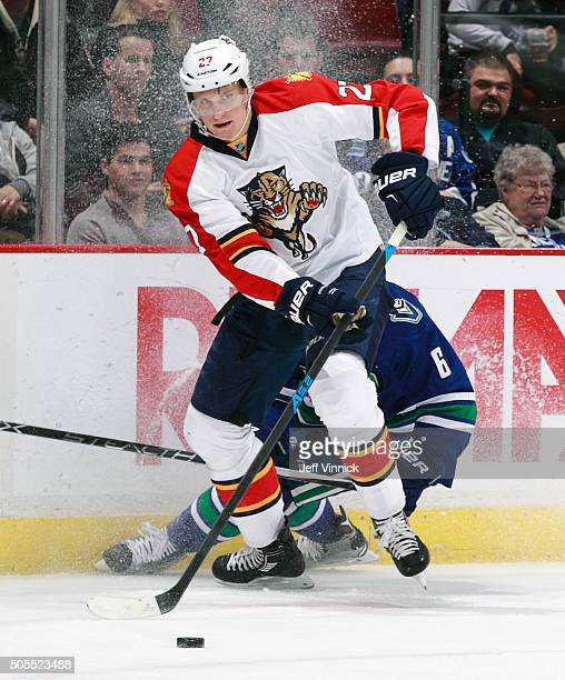 Nick Bjugstad of the Florida Panthers skates up ice during their NHL game against the Vancouver Canucks at Rogers Arena January 11 2016 in Vancouver...