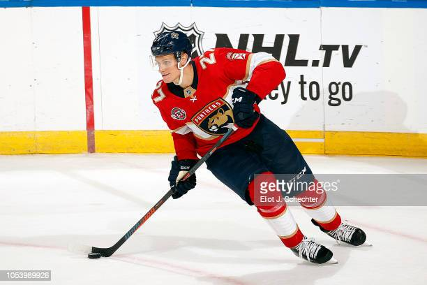 Nick Bjugstad of the Florida Panthers skates with the puck against the Columbus Blue Jackets at the BBT Center on October 11 2018 in Sunrise Florida