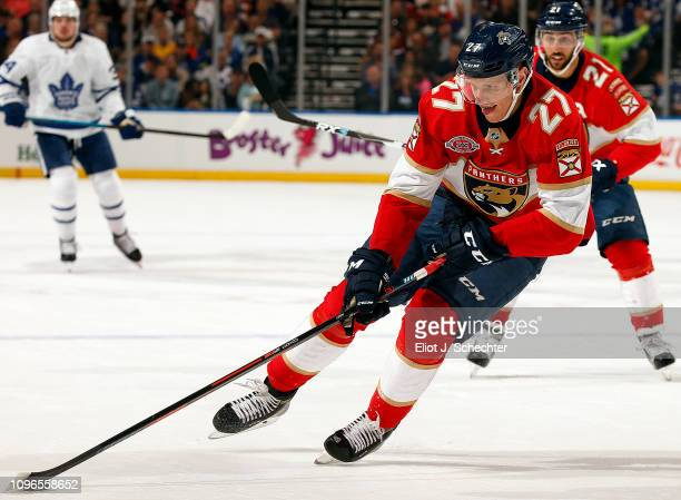 Nick Bjugstad of the Florida Panthers skates with the puck against the Toronto Maple Leafs at the BB&T Center on January 18, 2019 in Sunrise, Florida.