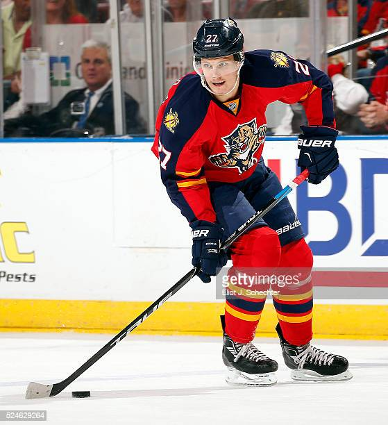 Nick Bjugstad of the Florida Panthers skates with the puck against the New York Islanders in Game Five of the Eastern Conference First Round during...