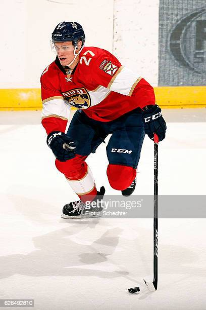 Nick Bjugstad of the Florida Panthers skates with the puck against the Columbus Blue Jackets at the BBT Center on November 26 2016 in Sunrise Florida
