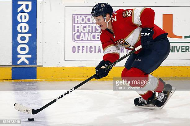 Nick Bjugstad of the Florida Panthers skates with the puck against the Winnipeg Jets at the BBT Center on January 4 2017 in Sunrise Florida