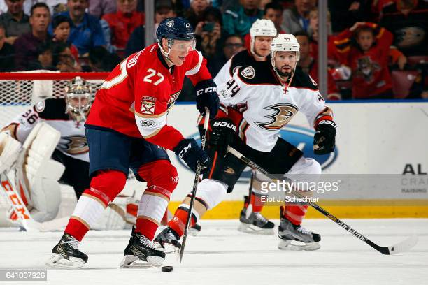 Nick Bjugstad of the Florida Panthers skates with the puck against the Anaheim Ducks at the BBT Center on February 3 2017 in Sunrise Florida