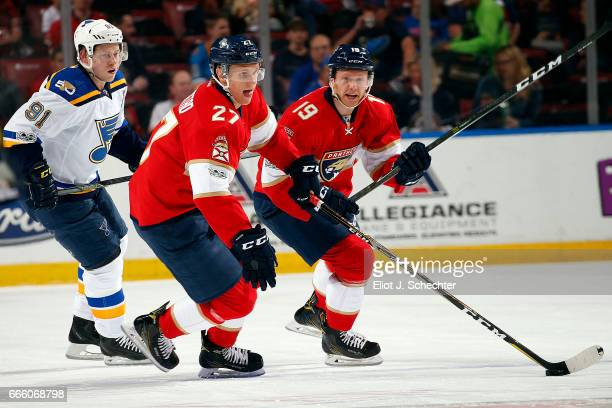 Nick Bjugstad of the Florida Panthers skates with the puck against the St Louis Blues at the BBT Center on April 6 2017 in Sunrise Florida