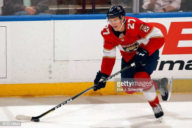 Nick Bjugstad of the Florida Panthers skates with the puck against the Columbus Blue Jackets at the BBT Center on November 2 2017 in Sunrise Florida