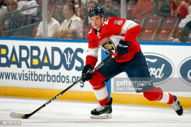 Nick Bjugstad of the Florida Panthers skates with the puck against the New York Islanders at the BBT Center on December 4 2017 in Sunrise Florida