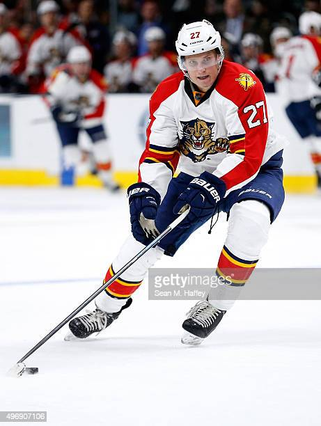 Nick Bjugstad of the Florida Panthers skates with the puck during the second period of a game against the Los Angeles Kings at Staples Center on...