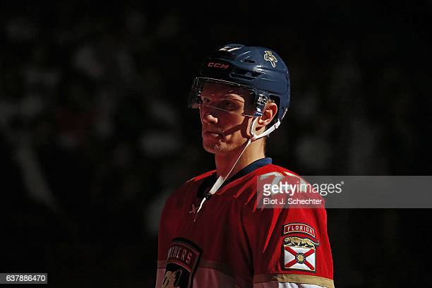 Nick Bjugstad of the Florida Panthers stands on the ice prior to the start of the game against the Nashville Predators at the BBT Center on January 6...