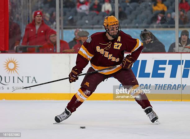 Nick Bjugstad of the Minnesota Golden Gophers shoots the puck against the Wisconsin Badgers during the Hockey City Classic at Soldier Field on...