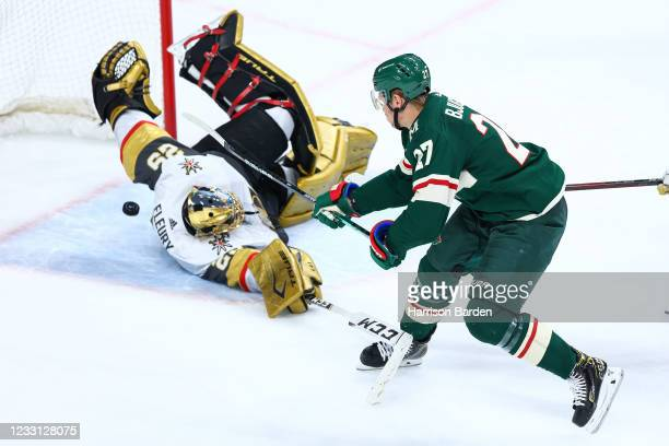 Nick Bjugstad of the Minnesota Wild scores a goal on Marc-Andre Fleury of the Vegas Golden Knights during the third period in Game Six of the First...