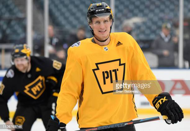 Nick Bjugstad of the Pittsburgh Penguins attends practice for the 2019 Coors Light NHL Stadium Series game against the Philadelphia Flyers at Lincoln...