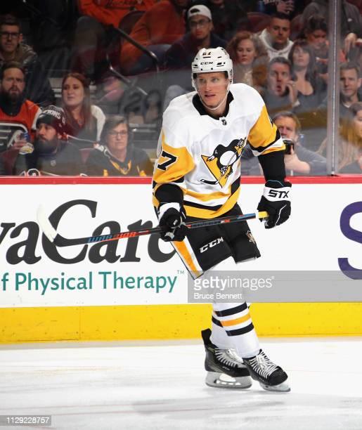 Nick Bjugstad of the Pittsburgh Penguins skates against the Philadelphia Flyers at the Wells Fargo Center on February 11, 2019 in Philadelphia,...