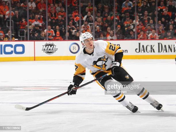 Nick Bjugstad of the Pittsburgh Penguins skates against the Philadelphia Flyers at the Wells Fargo Center on February 11 2019 in Philadelphia...