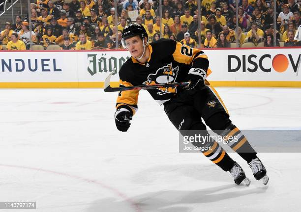 Nick Bjugstad of the Pittsburgh Penguins skates against the New York Islanders in Game Three of the Eastern Conference First Round during the 2019...