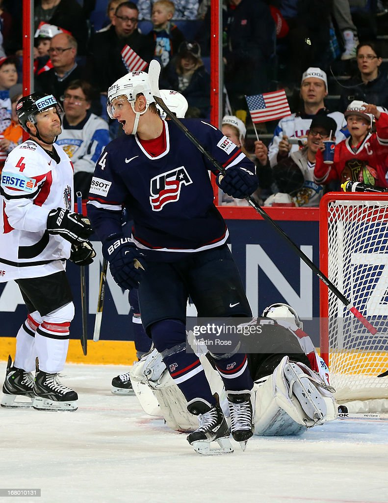 Nick Bjugstad of USA celebrates his team's 3rd goal during