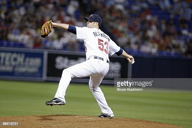 Nick Blackburn of the Minnesota Twins pitches to the Pittsburgh Pirates on June 18 2009 at the Metrodome in Minneapolis Minnesota The Twins won 51