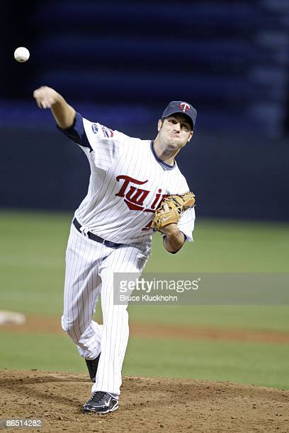 Nick Blackburn of the Minnesota Twins pitches to the Tampa Bay Rays on April 29, 2009 at the Metrodome in Minneapolis, Minnesota. The Twins won 8-3.
