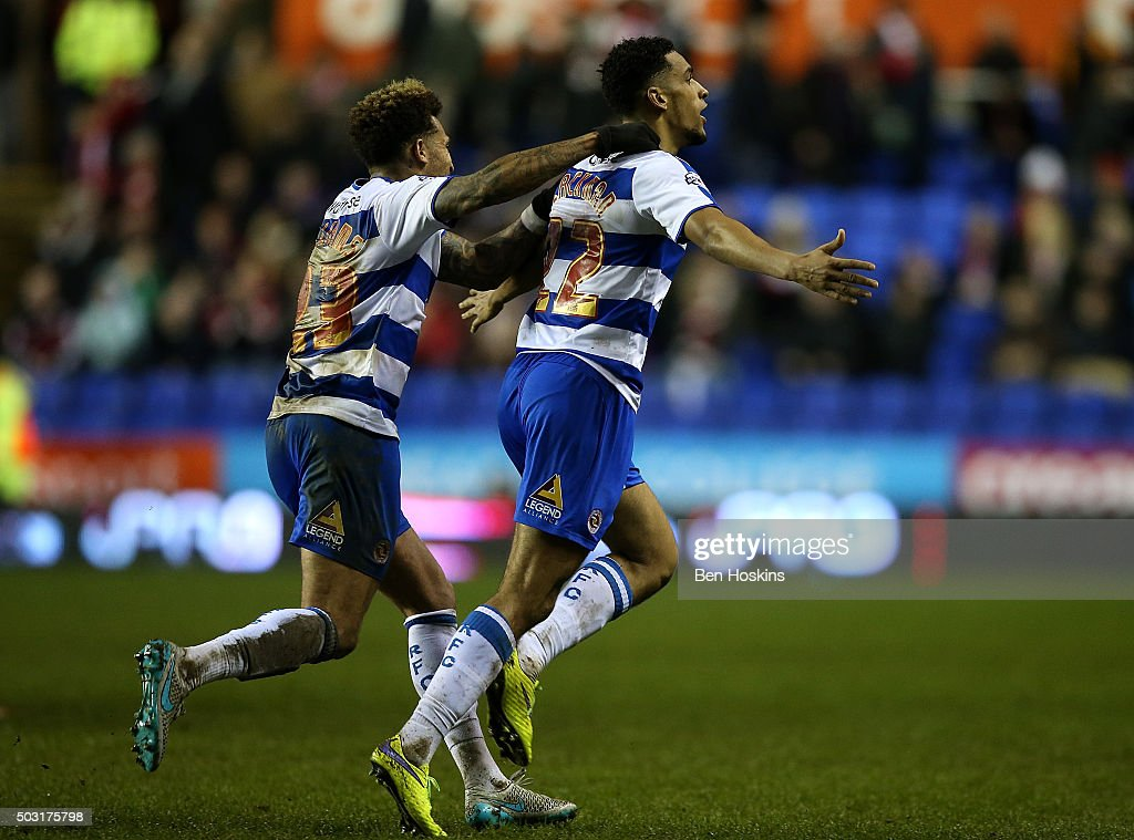 Nick Blackman of Reading celebrates after scoring an injury time goal to win the game during the Sky Bet Championship match between Reading and Bristol City on January 2, 2016 in Reading, United Kingdom.