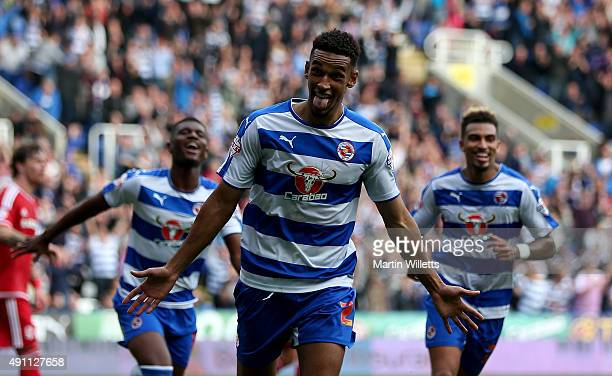 Nick Blackman of Reading celebrates scoring his sides second goal during the Sky Bet Championship match between Reading and Middlesbrough at Madejski...