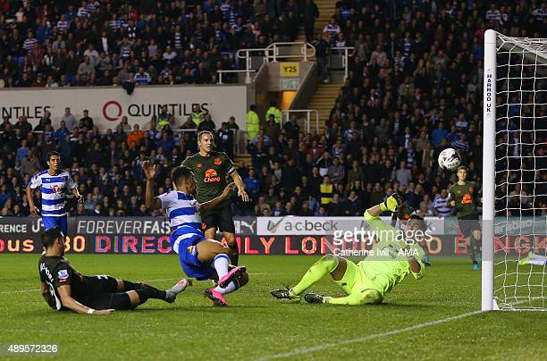 Nick Blackman of Reading scores a goal to make it 1-0 during the Capital One Cup match between Reading and Everton at Madejski Stadium on September...