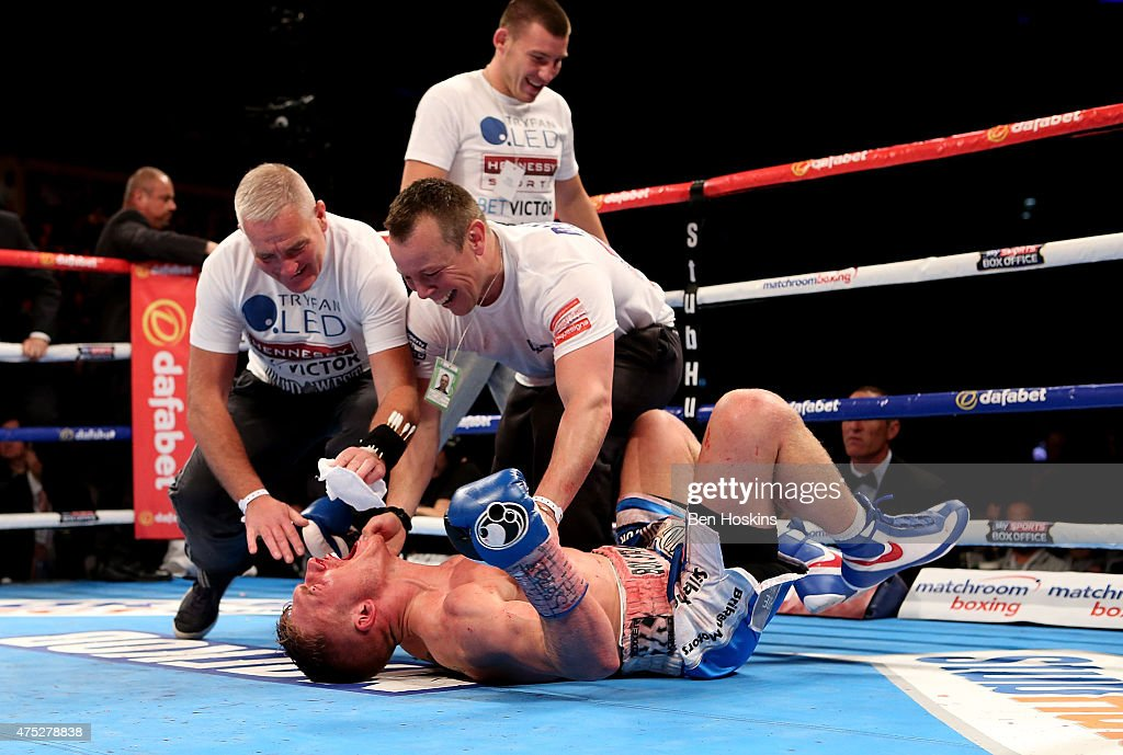 Nick Blackwell of England celebrates after defeating John Ryder of England during their British Middleweight Championship fight at The O2 Arena on May 30, 2015 in London, England.