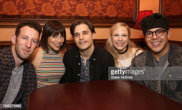 Nick Blaemire Krysta Rodriguez Andy Mientus Lauren Marcus and George Salazar from the cast of 'The Jonathan Larson Project' during the press preview...