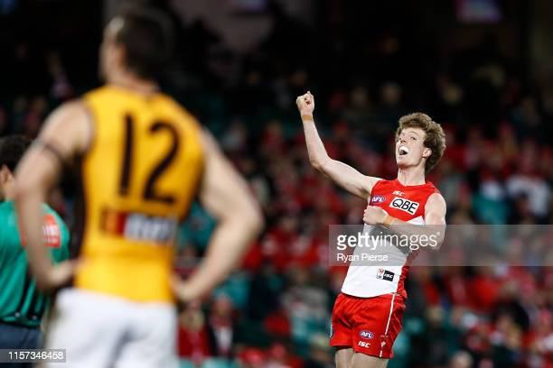 Nick Blakey of the Swans celebrates a goal during the round 14 AFL match between the Sydney Swans and the Hawthorn Hawks at the Sydney Cricket Ground...