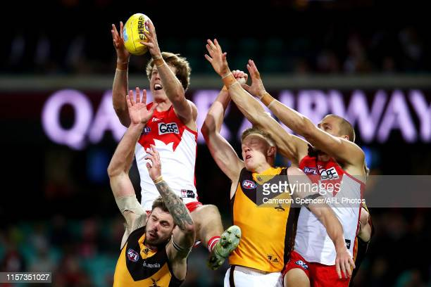 Nick Blakey of the Swans marks during the round 14 AFL match between the Sydney Swans and the Hawthorn Hawks at Sydney Cricket Ground on June 21 2019...