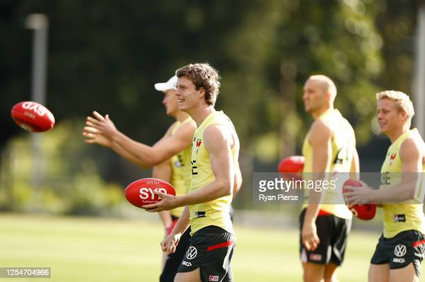 Nick Blakey of the Swans trains during a Sydney Swans AFL training session at Lakeside Oval on July 07 2020 in Sydney Australia