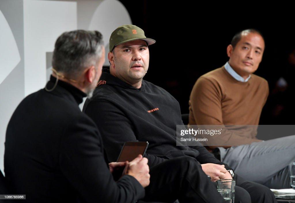Nick Blunden, Mr Sherbinski and Clement Kwan speak on stage