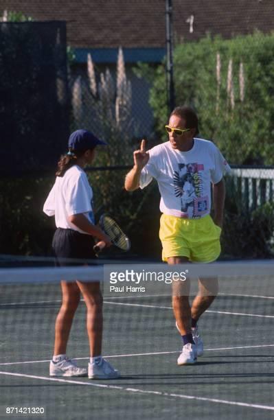 Nick Bollettieri teaching tennis at the Bollettieri Tennis Academy January 15 1990 in Bradenton Florida