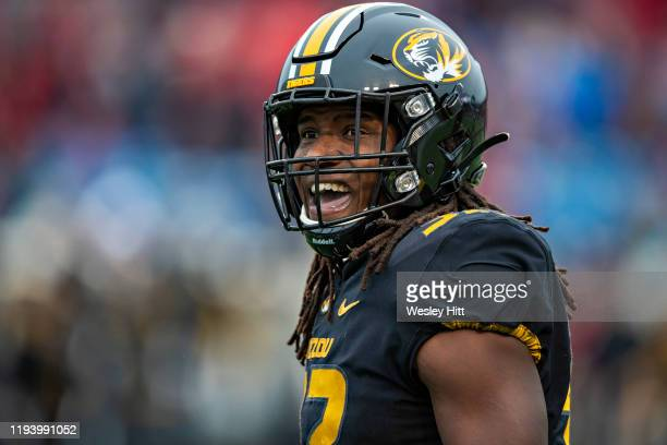 Nick Bolton of the Missouri Tigers looks to the sidelines during a game against the Arkansas Razorbacks at War Memorial Stadium on November 29, 2019...