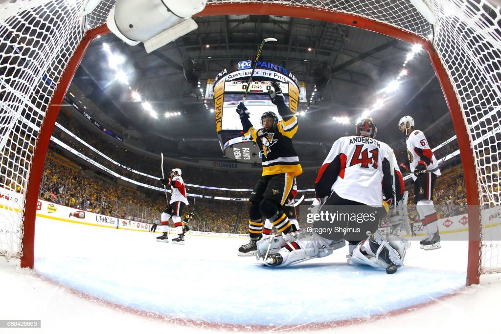 Nick Bonino #13 celebrates a goal scored by Olli Maatta #3 of the Pittsburgh Penguinsl against Craig Anderson #41 of the Ottawa Senators during the first period in Game Five of the Eastern Conference Final during the 2017 NHL Stanley Cup Playoffs at PPG PAINTS Arena on May 21, 2017 in Pittsburgh, Pennsylvania.